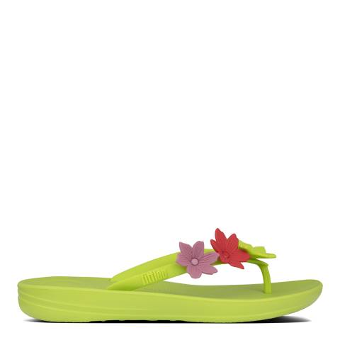 FitFlop Green Iqushion Ergonomic Flower Flip Flops