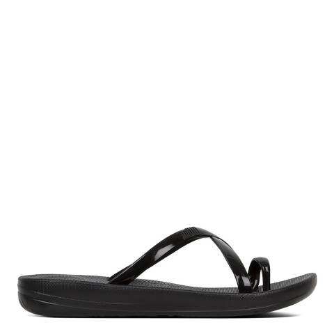 FitFlop Black Iqushion Wave Pearlised Cross Slides