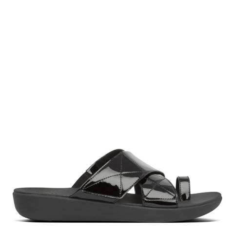 FitFlop Black Carin Patent Toe Post Sandals