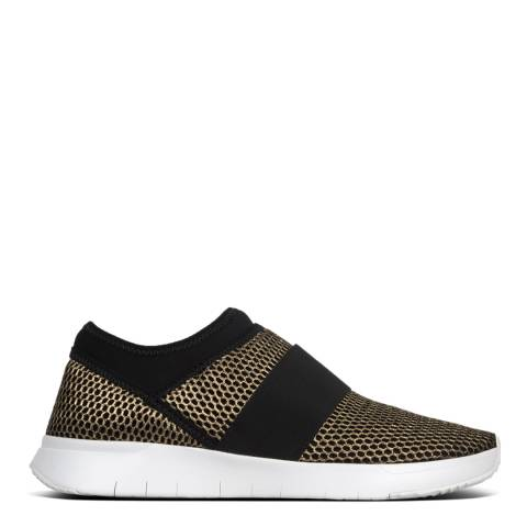 FitFlop Black/Gold Airmesh Elastic Slip On Trainers