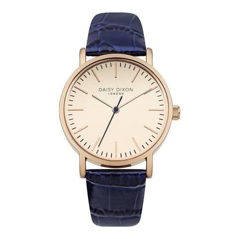 Daisy Dixon Navy Croc Leather Strap Watch