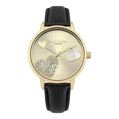 Daisy Dixon Black Leather Heart Dial Watch