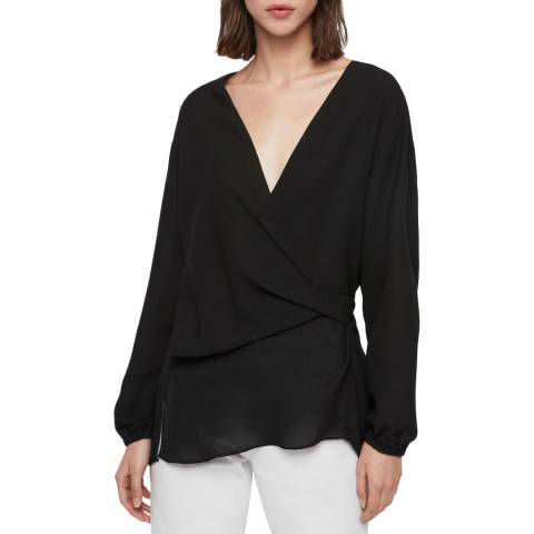 AllSaints Black Mia Sleeve Top