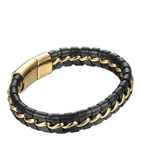 Stephen Oliver 18K Gold Plated Black Leather Woven Bracelet