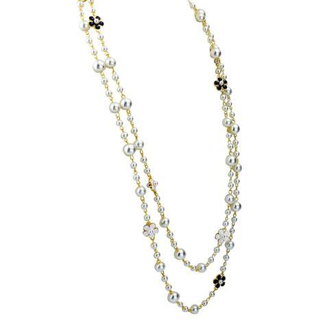 Liv Oliver 18K Gold Plated Black & White Pearl Necklace