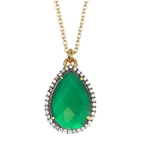 Liv Oliver 18K Gold Plated Green Onyx Cz Pear Drop Necklace