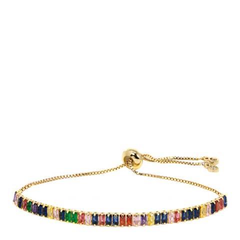 Liv Oliver 18K Gold Plated Cz Eternity Adjustable Bracelet