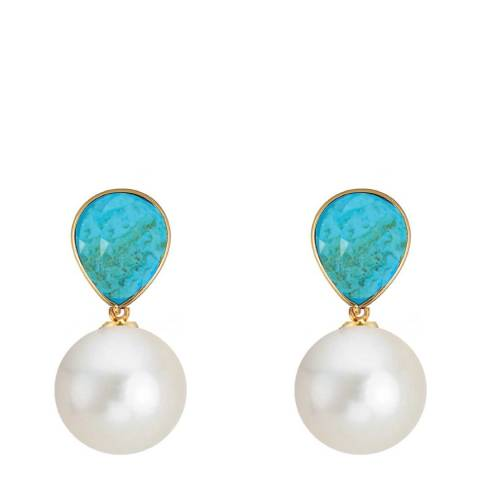 Liv Oliver 18K Gold Plated Turquoise & Pearl Drop Earrings