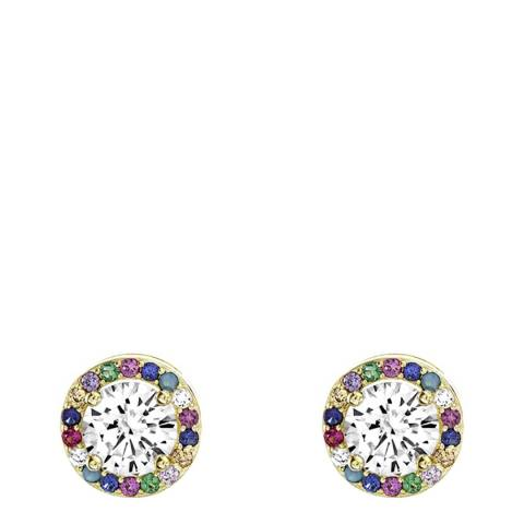Liv Oliver 18K Gold Plated Multi Colour Halo Cz Stud Earrings