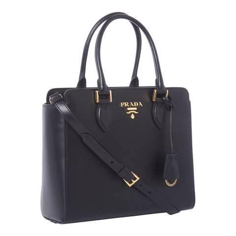 Prada Black Leather Top Handle Bag