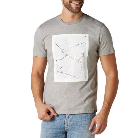 7 For All Mankind Grey Light Graphic Map T-Shirt