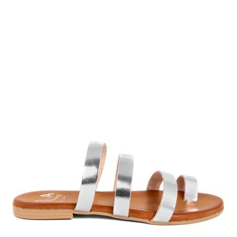 Alissa Shoes Silver Toe Loop Mule Sandal