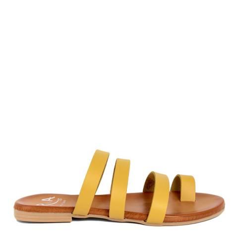 Alissa Shoes Yellow Toe Loop Mule Sandal