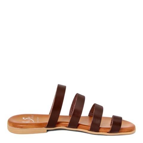 Alissa Shoes Brown Multi Strap Flat Sandal