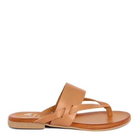Alissa Shoes Tan Wide Strap Flip Flop Sandal