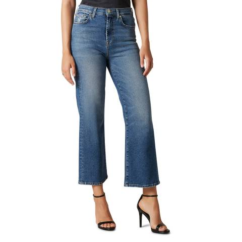 7 For All Mankind Blue Cropped Alexa Luxe Stretch Jeans