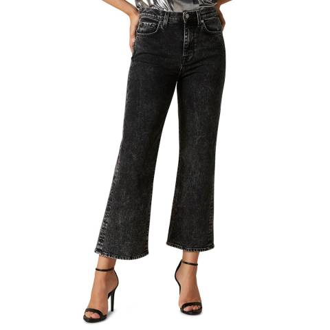 7 For All Mankind Black Acid Wash Cropped Alexa Luxe Stretch Jeans