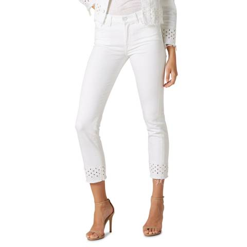 7 For All Mankind White Cutout Roxanne Stretch Jeans