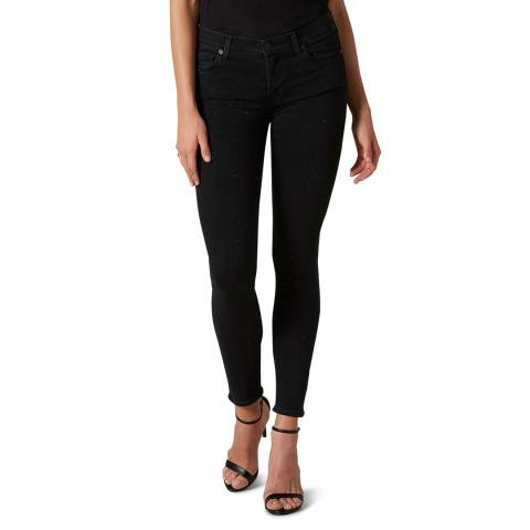 7 For All Mankind Black Skinny Illusion Crop Stretch Jeans