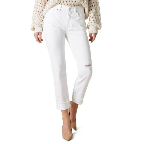 7 For All Mankind White Relaxed Skinny Distressed Stretch Jeans