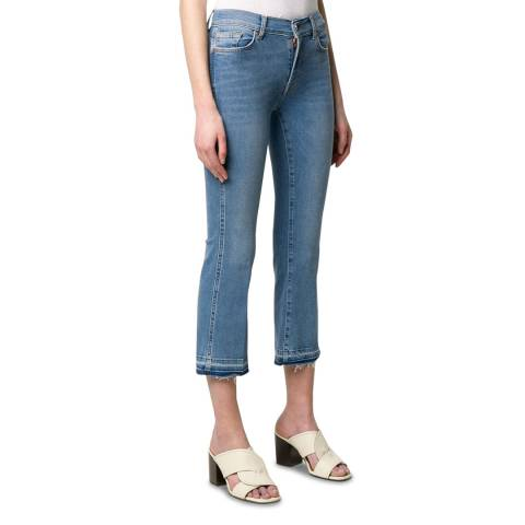 7 For All Mankind Blue Slim Illusion Crop Boot Stretch Jeans