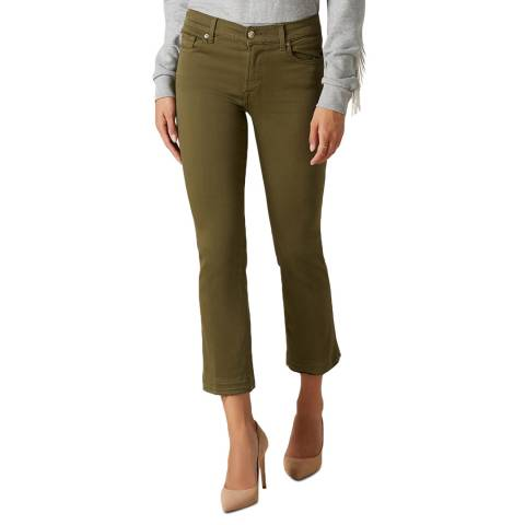 7 For All Mankind Khaki Slim Illusion Crop Boot Stretch Jeans