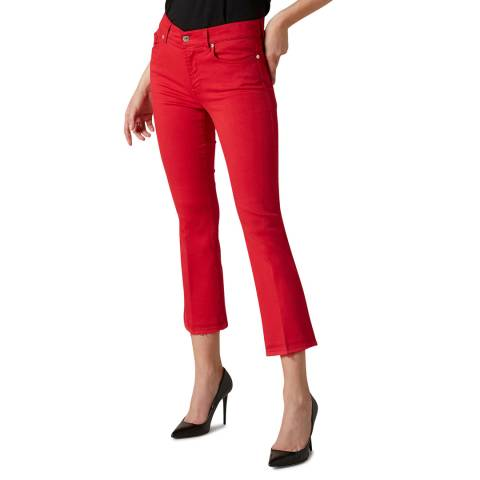 7 For All Mankind Red Slim Illusion Crop Boot Stretch Jeans