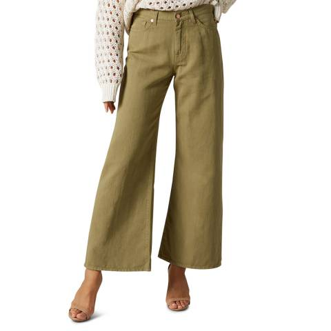 7 For All Mankind Khaki Lotta Cropped Linen Blend Jeans