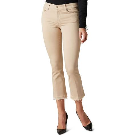 7 For All Mankind Beige Slim Illusion Crop Boot Stretch Jeans