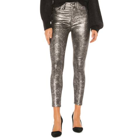 7 For All Mankind Silver Coated Python Print Skinny Stretch Jeans