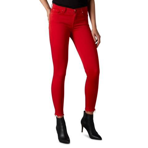 7 For All Mankind Red Skinny Illusion Crop Stretch Jeans
