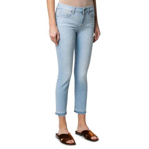 7 For All Mankind Light Blue Roxanne Unrolled Stretch Jeans