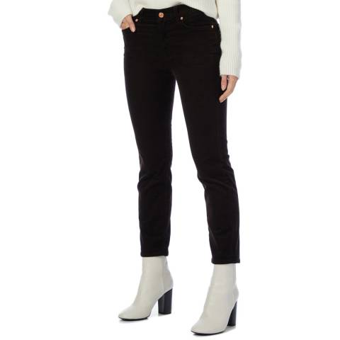 7 For All Mankind Black Cropped Straight Stretch Jeans