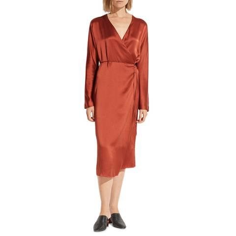 Vince Chestnut Silk Wrap Tie Dress
