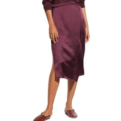 Vince Purple Silk Draped Panel Skirt