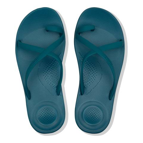 FitFlop Sea Blue Iqushion Wave Cross Slides