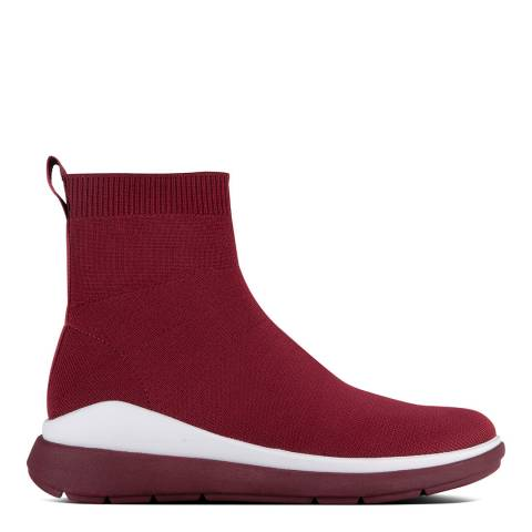 FitFlop Berry Red Rapid Luxe Knit Sock Boots