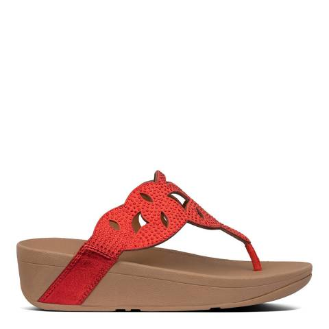 FitFlop Red Elora Crystal Toe Thong Sandal