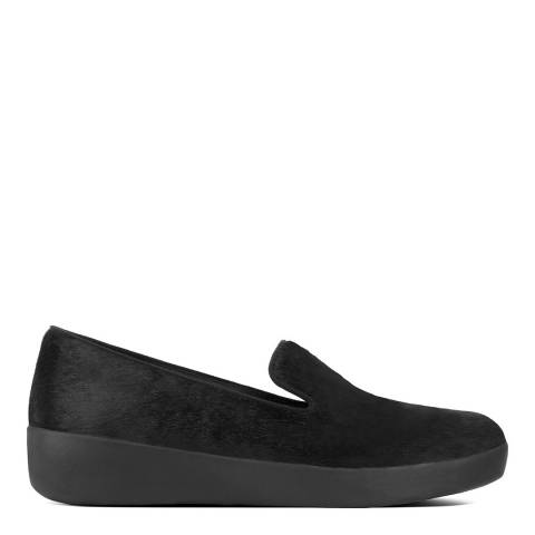 FitFlop Black Audrey Faux Pony Smoking Loafers