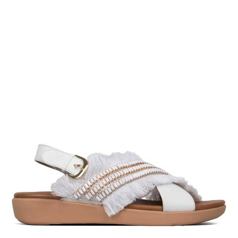 FitFlop White Lexi Crystalstone Fringy Sandals