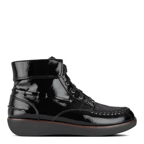 FitFlop Black Gianini Lace Up Patent Boots