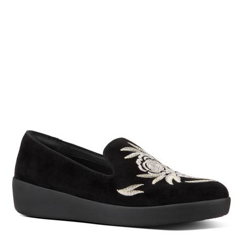FitFlop Black Audrey Baroque Smoking Loafers