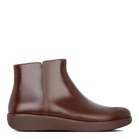 FitFlop Chocolate Brown Ziggy Zip Leather Boots