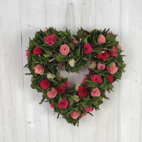 The Satchville Gift Company Heart Wreath With Coloured Lowers