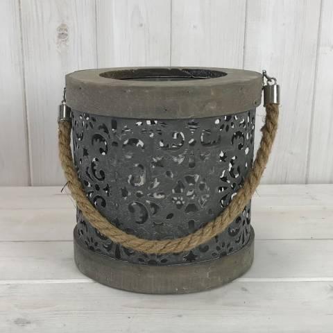 The Satchville Gift Company Large Round Greywash Lantern