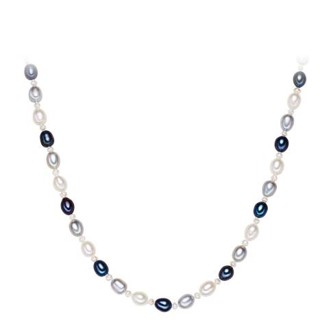 Yamato Pearls Silver/White/Light Grey/Blue Pearl Necklace