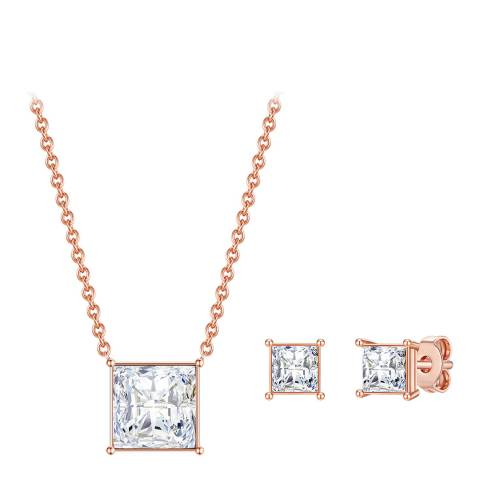 Glamcode Rose Gold Crystal Necklace and Earrings Set