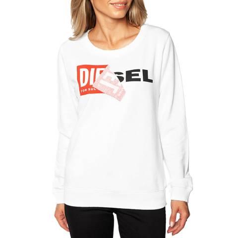 Diesel White Dial Logo Cotton Sweatshirt