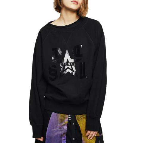 Diesel Black Henny Cotton Stretch Sweatshirt