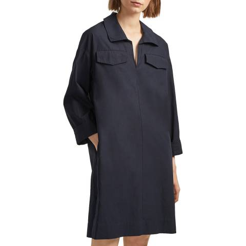 French Connection Navy Briella Cotton Shirt Dress